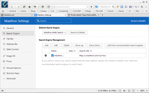 Maxthon Search Settings