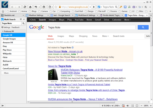 Maxthon Multisearch Results